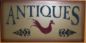 Rooster Wooden Antiques Sign
