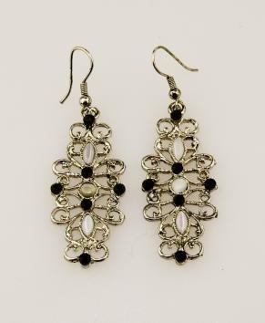 Elegant Black and Silver Alloy Fashion Earrings