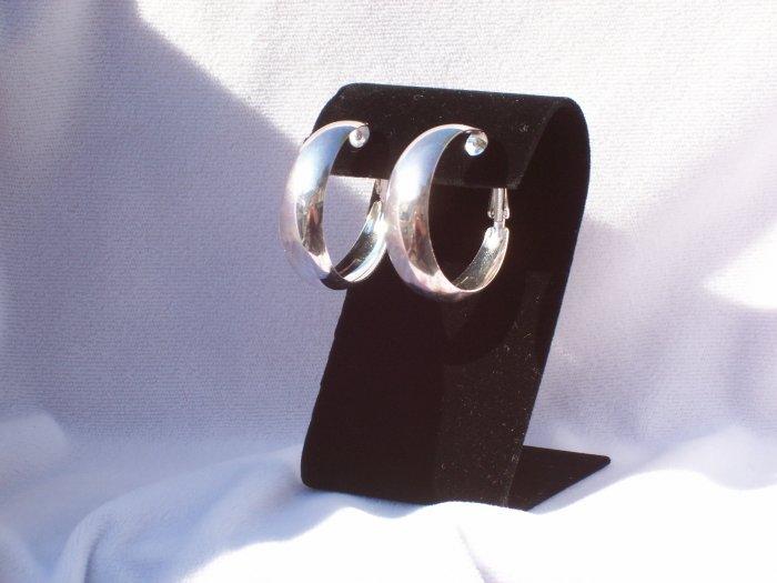 Large Silver Alloy Hoop Fashion Earrings 35mm