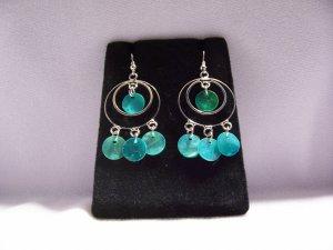 Silver Alloy Aqua Hoop Dreamcatcher Fashion Earrings