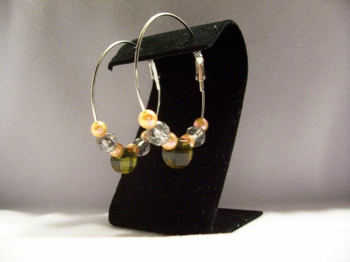 Silver Hoop w/ Beads Fashion Earrings 45mm