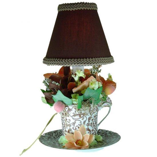 Handmade Brown Paisley Teacup Lamp