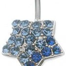 Sterling Silver Belly Star Blue CZECH Crystals and Sterling Silver Heart Dangle