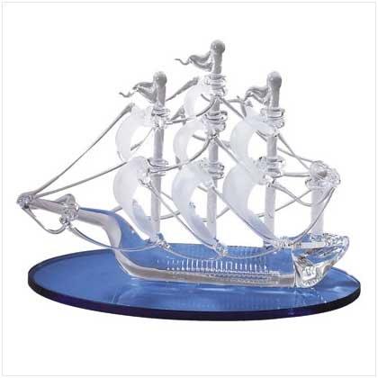 Spun Glass Sailboat w/Blue Base