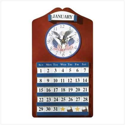 Wood Eagle/Flag Clock/Calendar
