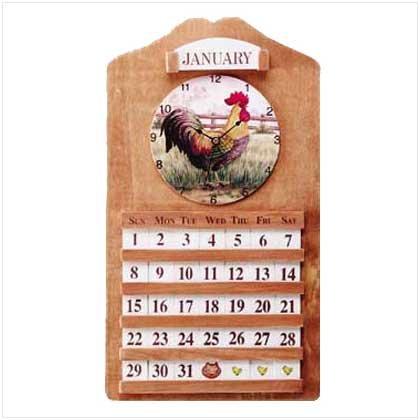 Rooster Clock and Perpetual Calendar