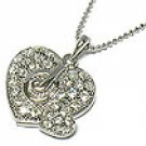 Juicy Couture Crystal JC Double Heart Necklace