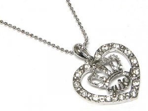 Juicy Couture Crystal Crown and Heart Necklace