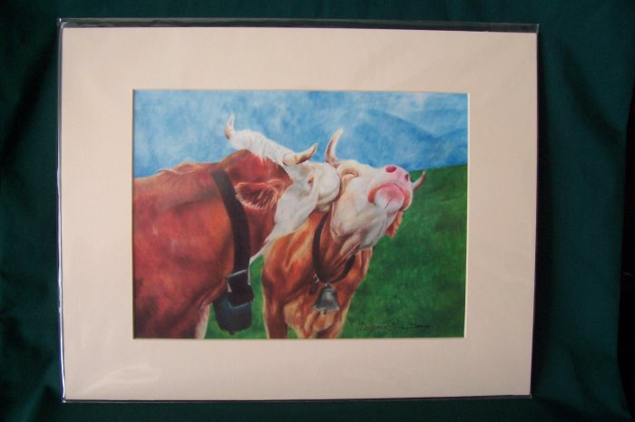 """Cows by Virginia Perry-Unger  - Ready to Frame Print : 11"""" x 14"""""""
