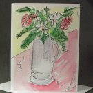 """""""Vase of Flowers""""- Watercolor- Greeting Card Notecard Blank"""
