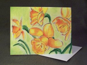 """Daffodils""- Colored Pencil Artwork- Greeting Card Notecard Blank"