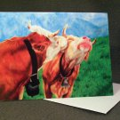 """Cows""- Colored Pencil Artwork- Greeting Card Notecard Blank"