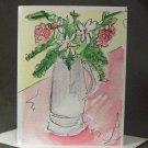 """4 Blank Greeting Cards Notecards- """"Vase of Flowers""""- Watercolor Artwork"""
