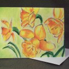 "4 Blank Greeting Cards Notecards- ""Daffodils""- Colored Pencil Artwork"
