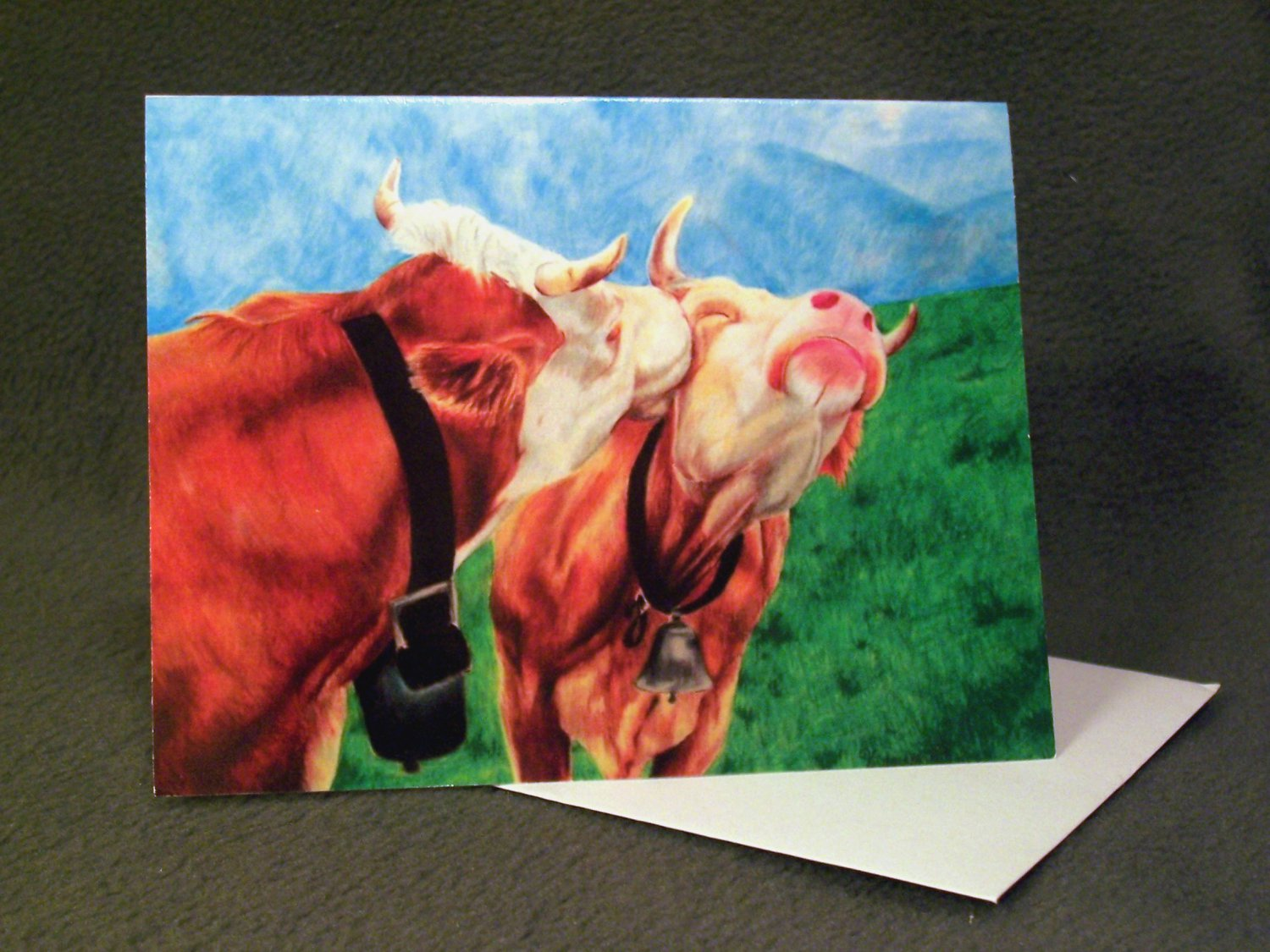 """4 Blank Greeting Cards Notecards- """"Cows""""- Colored Pencil Artwork"""
