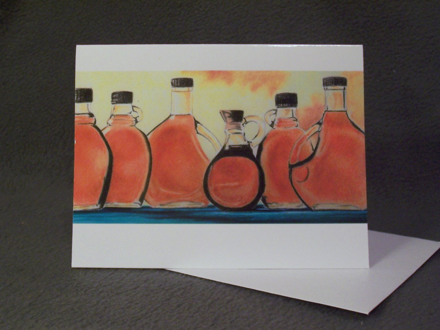 "4 Blank Greeting Cards Notecards- ""Maple""- Colored Pencil Artwork"