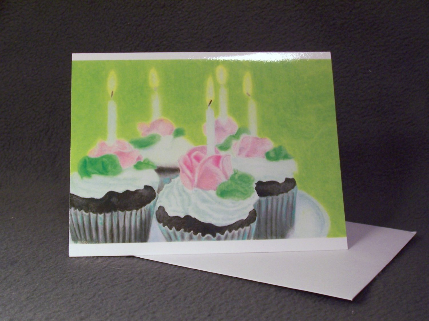 "4 Blank Birthday Greeting Cards Notecards- ""Make A Wish""- Colored Pencil Artwork"