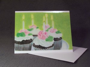 """4 Blank Birthday Greeting Cards Notecards- """"Make A Wish""""- Colored Pencil Artwork"""