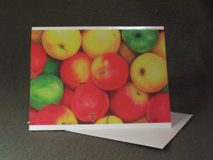 "4 Blank Greeting Cards Notecards- ""Rural Jewels""- Apples- Colored Pencil Artwork"