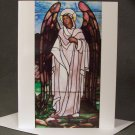 "4 Blank Greeting Cards Notecards- ""Stained Glass Angel""- Photograph"