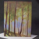 "4 Blank Greeting Cards Notecards- ""The Rail Trail""- Trees- Colored Pencil Artwork"