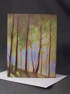 """4 Blank Greeting Cards Notecards- """"The Rail Trail""""- Trees- Colored Pencil Artwork"""