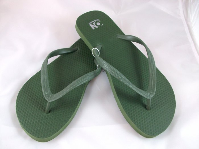 Women's Army Green Flip Flops - Size 10