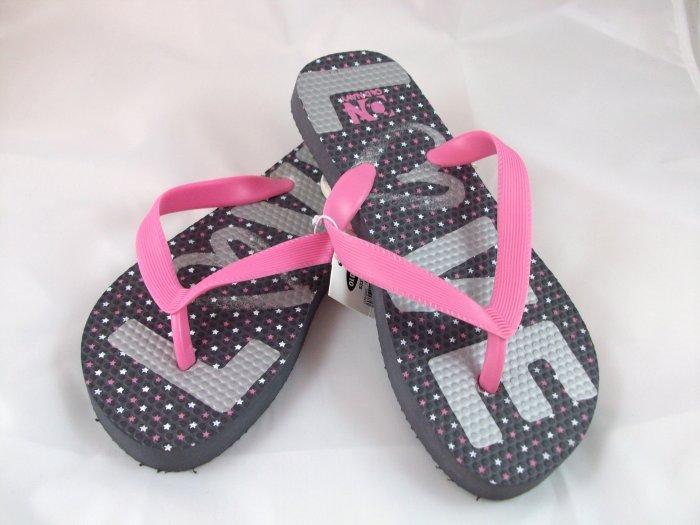 "Girl's Gray/Pink ""Love"" Flip Flops - Size 1/2"