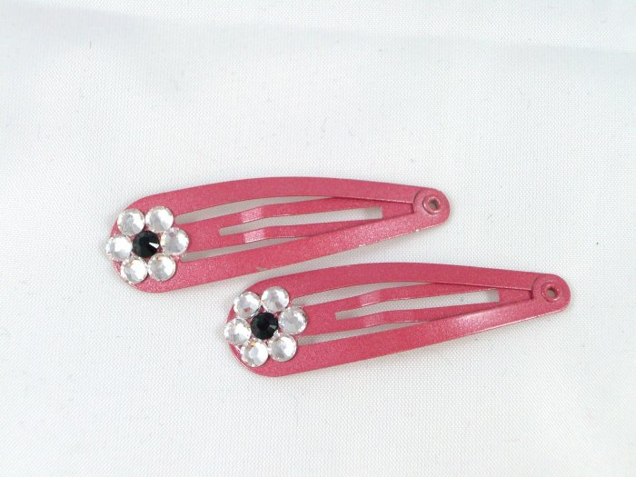 Dark Pink Barrettes with flowers