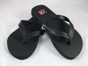 Girl's Black Flip Flops - Size 12/13