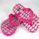 Girl's Pink/Silver Hearts Flip Flops - Size 8/9