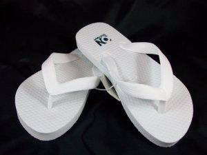Girl's White Flip Flops - Size 8/9