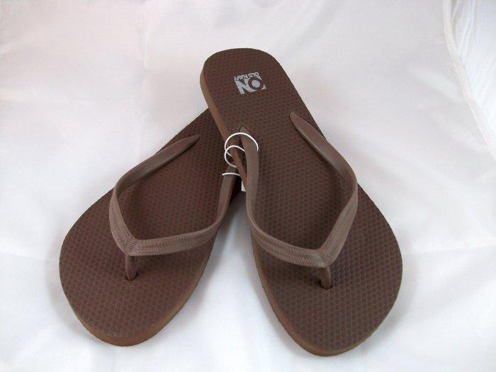 Women's Brown Flip Flops - Size 9