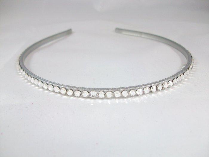 Thin Silver Headband with Swarovski Crystals
