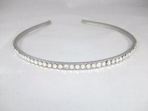 Thin Silver Headband with Swarovski Crystals