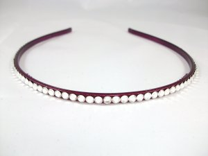 Thin Plum Headband with Swarovski Crystals