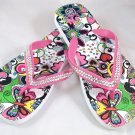 Girl's White/Pink Hearts & Flowers Print Flip Flops - Size 3/4