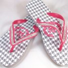 Girl's Pink/Gray Houndstooth Flip Flops - Size 3/4
