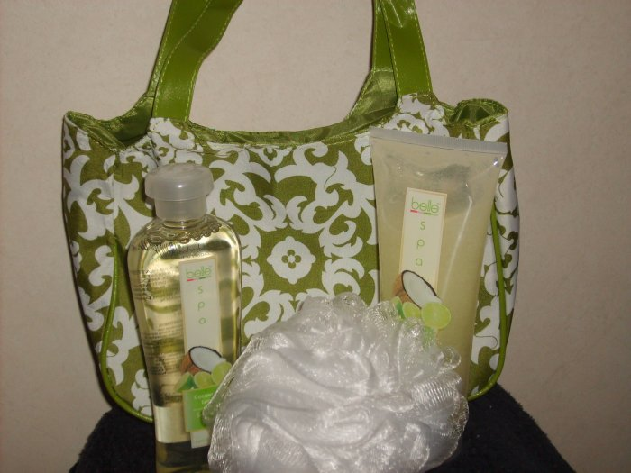* SALE*Belle Spa Coconut Lime Shower gel and Body Scrub set