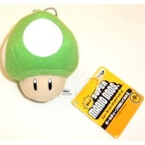Super Mario Brothers Plush Keychain 1-UP Mushroom Green