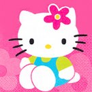 HELLO KITTY FLOWER FUN BEVERAGE NAPKIN
