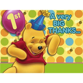 POOH'S FIRST BDAY THANK YOU NOTE
