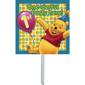 POOH'S FIRST BDAY YARD SIGN