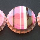Set of 4 Retro Pink And Brown Prints Bottle Caps Great For Scrapbooking, Hair bows, Necklaces