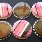 Set of 6 Pink Brown Chocolate Stripe Bottle Caps