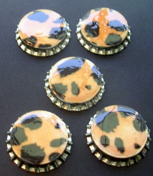 Set of 5 leopard Animal print Bottle Caps Great For Scrapbooking, Hair bows, Necklaces