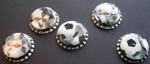 Set of 5 Soccer Ball Bottle Caps Great For Scrapbooking, Hair bows, Necklaces