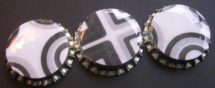 Set of 3 White Black Retro prints Bottle Caps