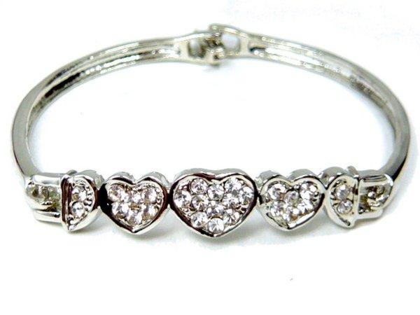 B0001 - Diamond Hearts Bracelet