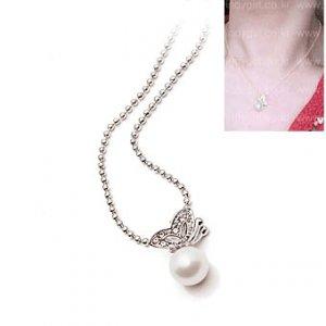 C0108 - Butterfly on Pearl Drop Earrings